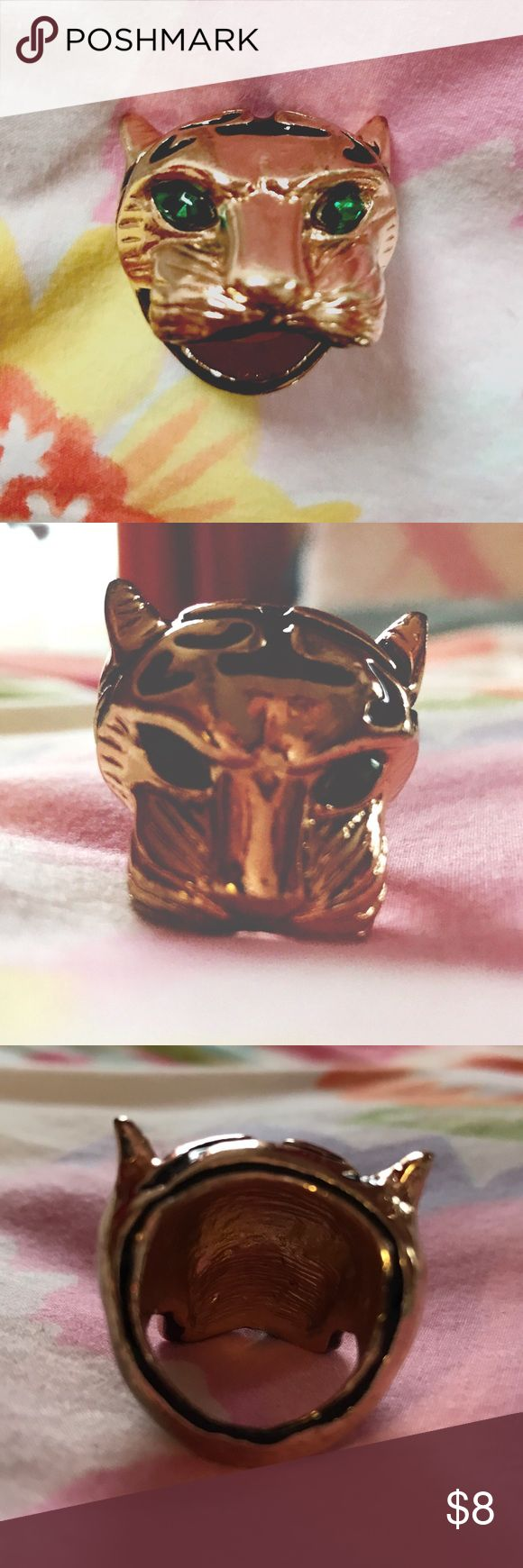 """Tiger ring🐯 This gold, black and green-eyed tiger ring is a little heavy, but will be worth the """"weight!"""" Jewelry Rings"""