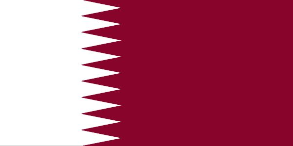 Qatar - The flag of Qatar was officially adopted in 1949.  The story goes that Qatar's original flag used an unstable red dye, and the relentless sun faded that red into a shade of maroon, and that color is referred to today as Qatar Maroon. The toothy edge between the maroon and white fields, and the flag's width, helps to identify it from that of Bahrain's flag, a Gulf State's country that it was formerly associated with.