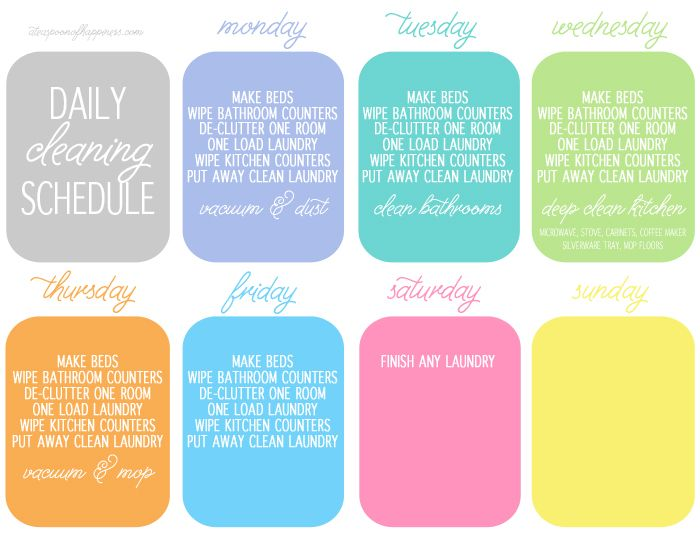 Daily Cleaning Schedule - A Teaspoon of Happiness--I would have to adjust a little but it is a great idea!