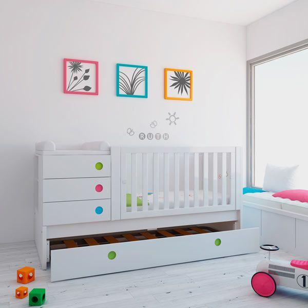 Cunas convertibles modernas y de diseño en color blanco y detalles de colores para niños y niñas. Con cama nido para las visitas ¡Una solución de largo recorrido!