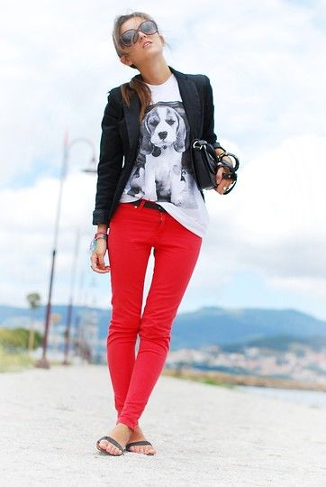I love colored pants.: Colors Pants, Fashion Statement, Red Jeans, Beagles, Prints Tees, Black White, Colors Schemes, Black Blazers, Red Pants