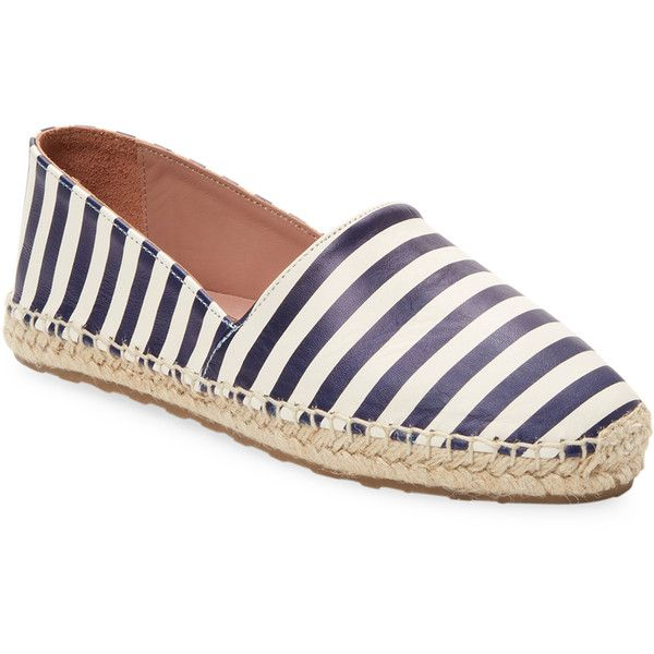 RED Valentino Women's Stripes Leather Espadrille - Size 37 ($129) ❤ liked on Polyvore featuring shoes, sandals, unknown, braided leather sandals, woven leather sandals, leather espadrilles, espadrilles shoes and red valentino shoes