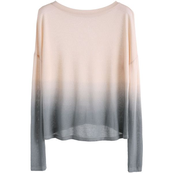 SheIn(sheinside) Ombre Drop Shoulder Knit T-shirt ($13) ❤ liked on Polyvore featuring tops, t-shirts, long sleeves, sweaters, ombre, long sleeve knit tops, pink long sleeve tee, drop shoulder t shirt, long sleeve t shirts and color block tee