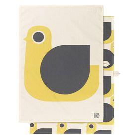 Orla Kiely | USA | House | Kitchen | Hen Tea Towel set/2 (0KTTHEN500) | Mustard