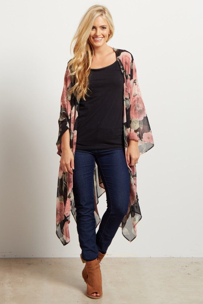 ca6d2990b A floral print kimono. V-neck on upper back. Asymmetric hemline. This style  was created to be worn before, during, and after pregnancy.