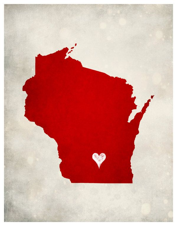 Wisconsin State Map Home Town Love Customizable by WORLDofMAPS