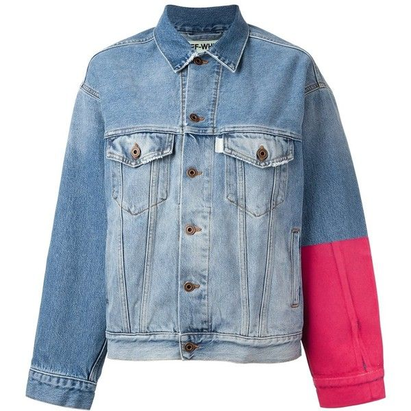 Off-White colour block denim jacket ($1,044) ❤ liked on Polyvore featuring outerwear, jackets, white jean jacket, colorblock jackets, off white jacket, jean jacket and denim jacket