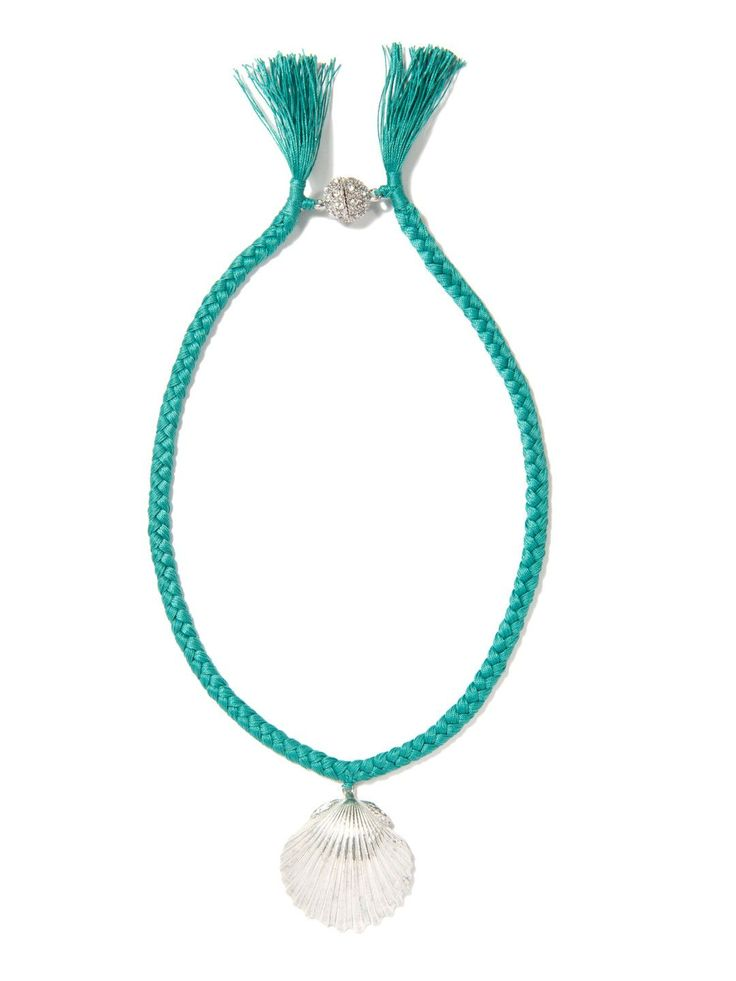 WHAT THE SHELL? SCALLOP NECKLACE (TEAL)