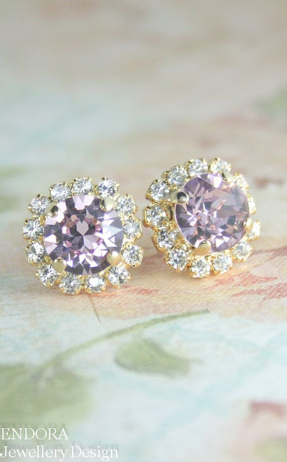 gold light amethyst halo stud earrings | swarovski light amethyst crystal earrings | lilac bridesmaid earrings | lilac wedding | www.endorajewellery.etsy.com