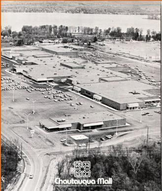 Aerial view of Chautauqua Mall 1972