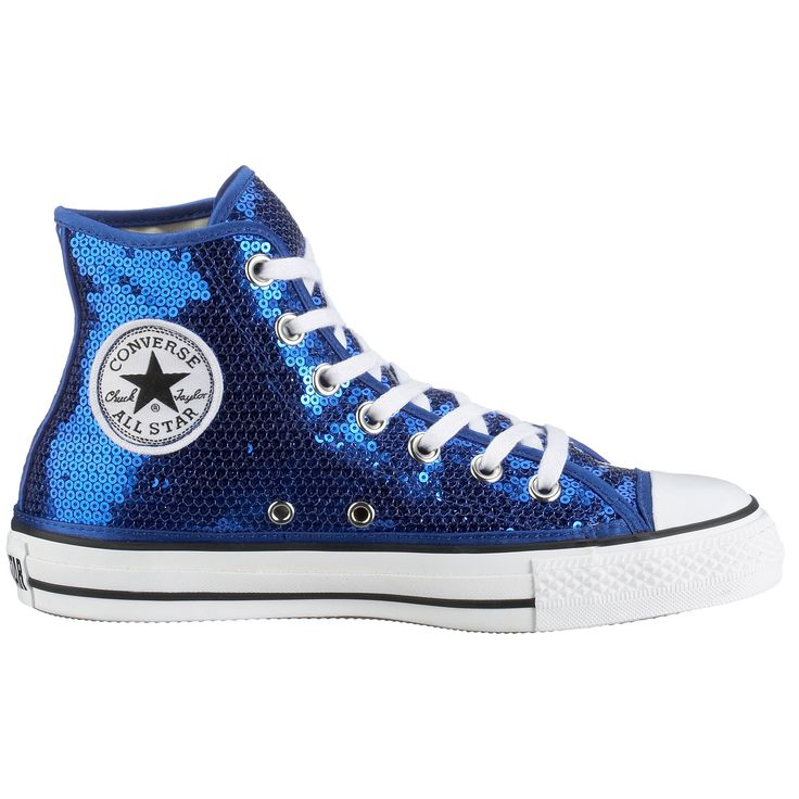Royal blue sequin Converse high top sneakers
