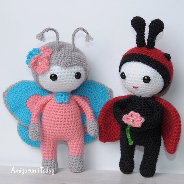 Capture an elegant beauty of this amigurumi doll in butterfly costume! It's a great spring amigurumi pattern to work on! #amigurumipatterns #amigurumitoday #spring #cute #toys #amigurumidolls #crochetpatterns #butterfly #diy
