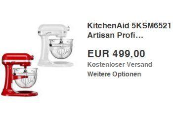 Ebay: KitchenAid 5KSM6521 Artisan für 499 Euro frei Haus https://www.discountfan.de/artikel/technik_und_haushalt/ebay-kitchenaid-5ksm6521-artisan-fuer-499-euro-frei-haus.php In anderen Online-Shops kostet sie mindestens 600 Euro mit Versand, bei Ebay ist sie jetzt für kurze Zeit zum Preis von 499 Euro frei Haus zu haben: Die Küchenmaschine KitchenAid 5KSM6521 Artisan. Ebay: KitchenAid 5KSM6521 Artisan für 499 Euro frei Haus (Bild: Ebay.de) Die Küchenmaschine Kit... #K