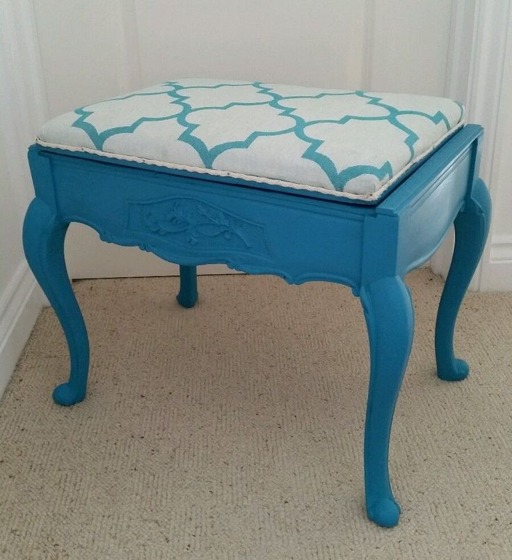 Stunning Vintage Antique Edwardian Upcycled Teal Piano Dressing Table Stool in Musical Instruments, Keyboards & Pianos, Parts & Accessories | eBay