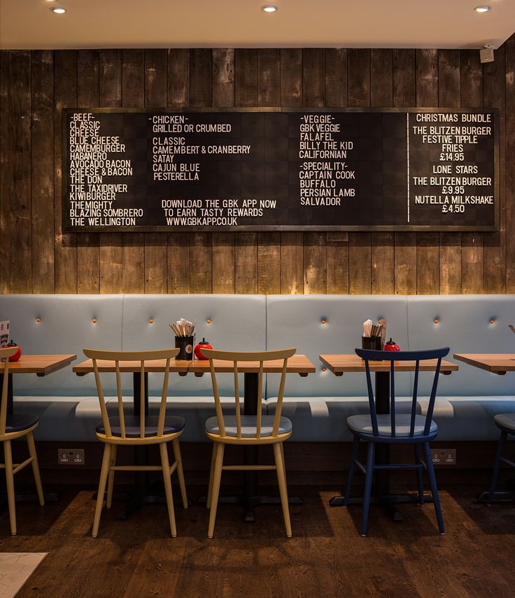 RESTAURANT | GBK Earls Court, London UK Restaurant by Moreno Masey Architecture + Interiors. www.morenomasey.com Gourmet Burger Kitchen, fast casual dining restaurant. Interior hospitality refurbishment. New lighting, reclaimed timber finishes and light blue leather banquettes. #FastCasual #MorenoMasey #GourmetBurgerKitchen [ok]