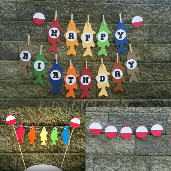 Fishing Birthday Party ideas, fishing party, fishing birthday decor  Check out this item in my Etsy shop https://www.etsy.com/listing/257993850/fishing-birthday-fishing-cake-topper