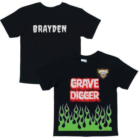 Personalized Monster Jam Grave Digger Uniform Toddler Boys' T-Shirt, Black, Toddler Boy's, Size: 5 - 6 Years