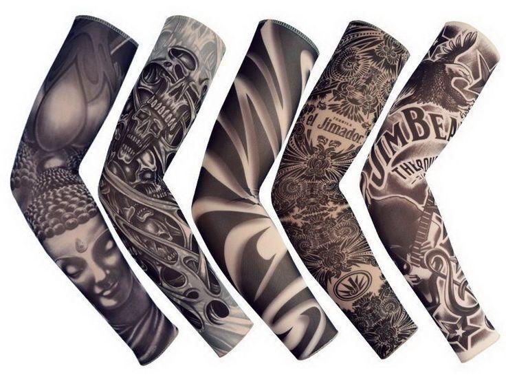FreeShipping 5 STÜCKE New Mixed 92% Nylon Elastischen Gefälschte Temporäre Tätowierung Ärmel Entwirft Körper Arm Strümpfe Tattoo Für Coole Männer frauen