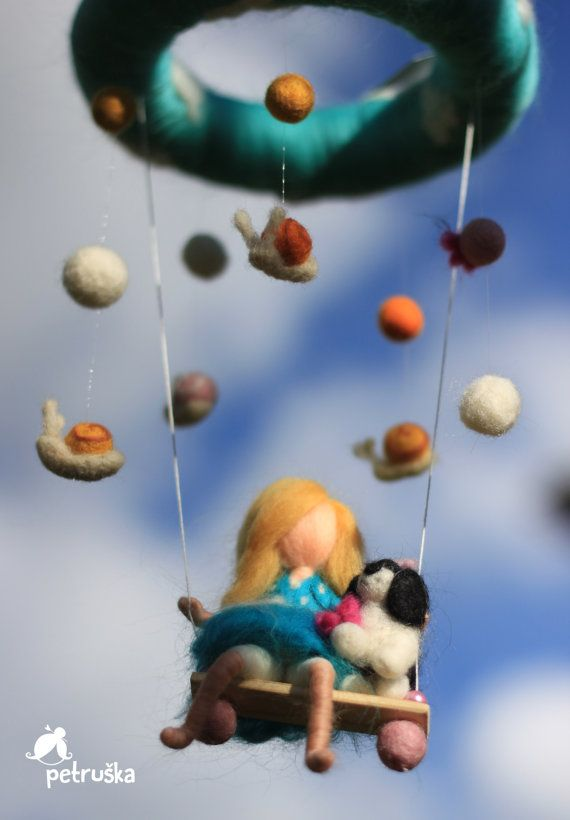 Baby crib mobile, Needle felted Waldorf inspired mobile, A blond girl and her best friend, wool felt, made to order