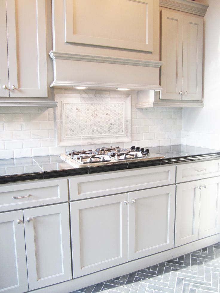 Herringbone Backsplash Kitchen Grey