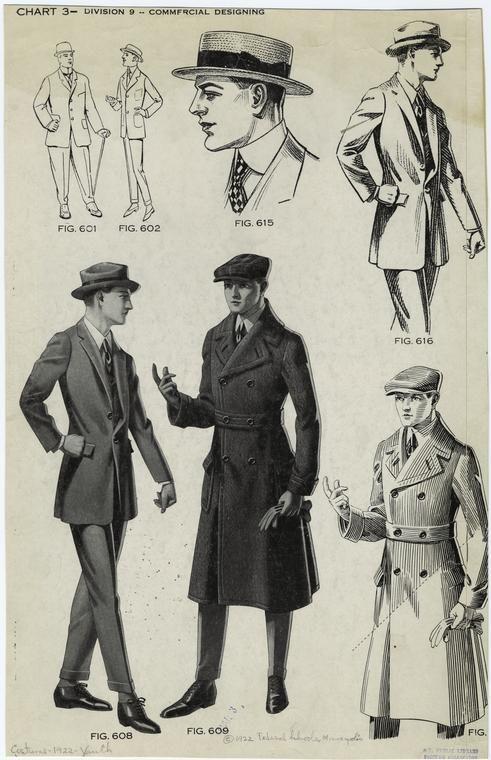 [Young men's suits, hats, and coat, ca. 1922.] – ID: 817204 – NYPL Digital Gallery