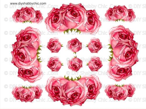 Beautiful French Furniture Decal Diy Shabby Chic Image Transfer Vintage Pink Rose  Flower