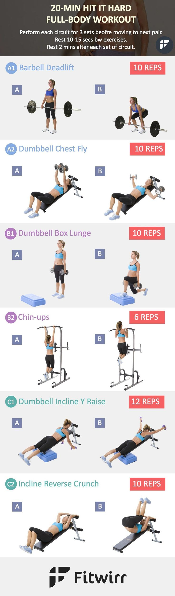 20-Minute Hit It Hard Full-Body Workout. Worry that you get bulky by lifting weights? Take Jessica Alba, Jessica Biel and Cameron Diaz who religiously lift weight but never bulked up.  Weight training makes women lean, toned and sleek. Lay down your fear, hit they gym and give this workout a try.
