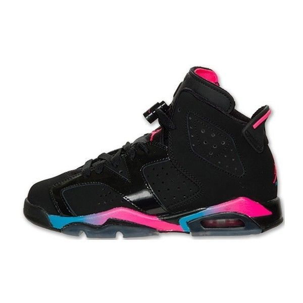 another chance 1b33b d390b Air Jordan 6 Retro Girls Black Pink Flash-Marina Blue ❤ liked on Polyvore  featuring shoes, jordans and sneakers
