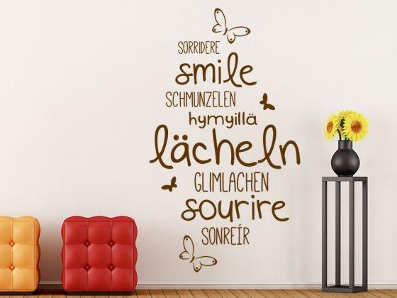Epic Lachen ist in allen Sprachen ansteckend das Wandtattoo L cheln Sprachen l cheln smile sorridere