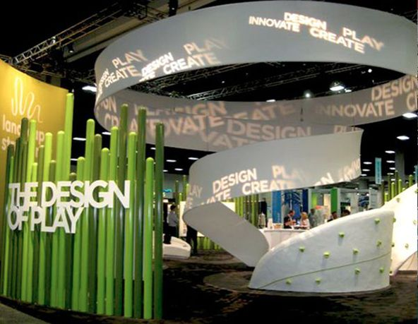 A gorgeous tradeshow booth for Landscape Structures - our Toy Product Design sponsor for 2015! We just toured their factory and it's AMAZING.