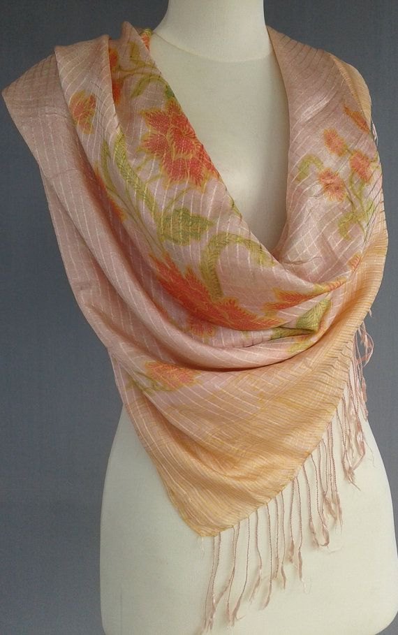 Floral Silk  Summer Scarf  lightweight Flesh by JavaniceHandyCraft