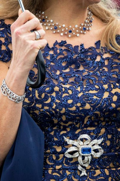 Jewelry of Queen Maxima of The Netherlands as she arrives at the Opera House on the ocassion of the celebration of King Harald and Queen Sonja of...