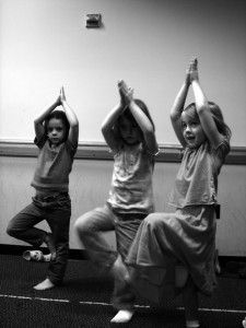 Yoga on the Brain: How Doing Yoga Changes Your Child's Brain Includes a few good ideas for yoga games - e.g. Rock, Tree, Bridge