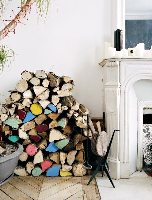 fun pile of wood: Colour, Interior, Idea, Color, Wood Pile, Fireplace, Woods, Diy, Painted Log