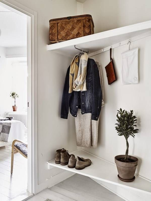 A coat bar instead of a hook | The Best Shelves for Small Spaces Awkward Angle Mudroom