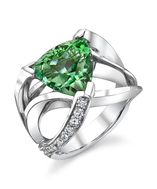 14k white gold ring with 5.85ct green tourmaline trillion accented with 0.485ctw diamondsThis one-of-a-kind piece is currently in stock. This piece may be reproduced. Please allow additional time to source stones.