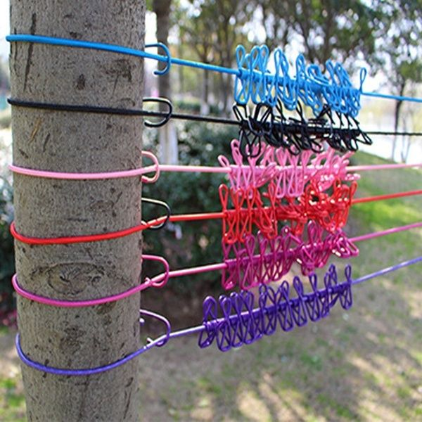 12 Clip Cloth Washing Line Drier Airer Clothes Outdoor Travel