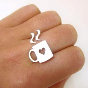 This is so darn cute!: Handmade Silver, Style, Gifts Ideas, Teas, Memorial Lovers, Coffee Rings, Sterling Silver Rings, Accessories, Coffee Mugs