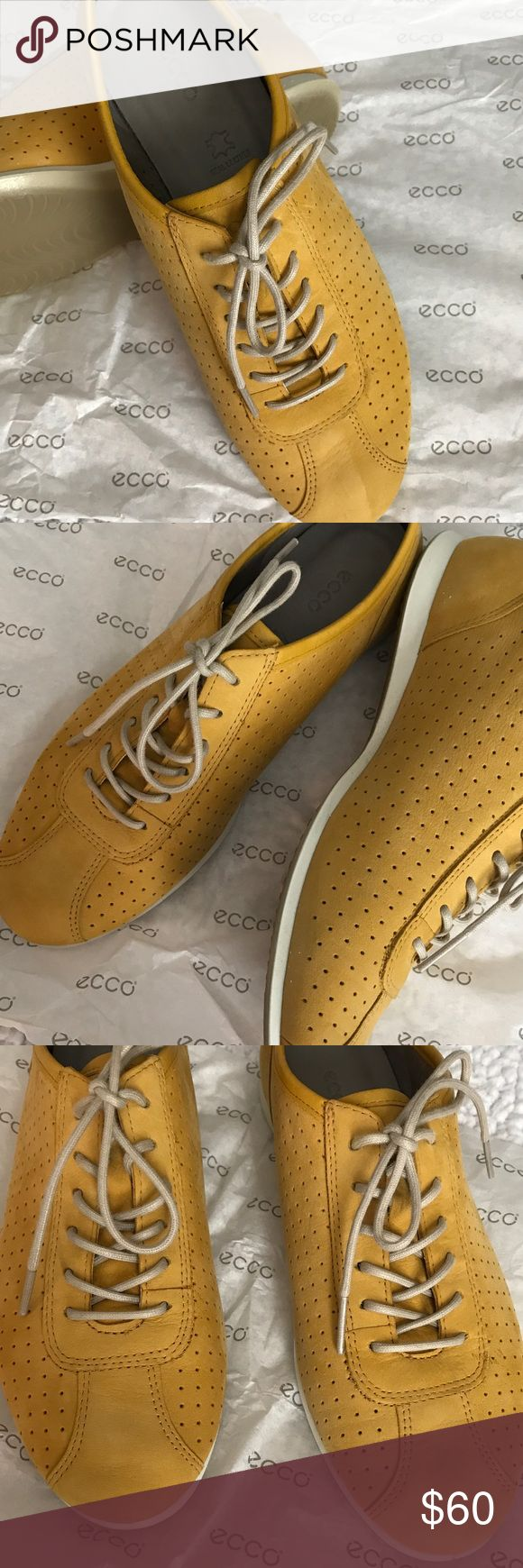 🌼Ecco Touch Sneaker🌼 Ecco Touch Sneaker in Saffron 🌼 Nubuck suede, beautiful saffron 🌼🌼 Pic #4 shows slight wear from driving 🚗. EUC Size 36 (U.S. size 5-5.5) ❗️NOTE: Pic #7 indicates European size, however; this is different from PM European size 36. I normally wear a size 6.5 and Ecco size 36 fits comfortably. Ecco Shoes Sneakers