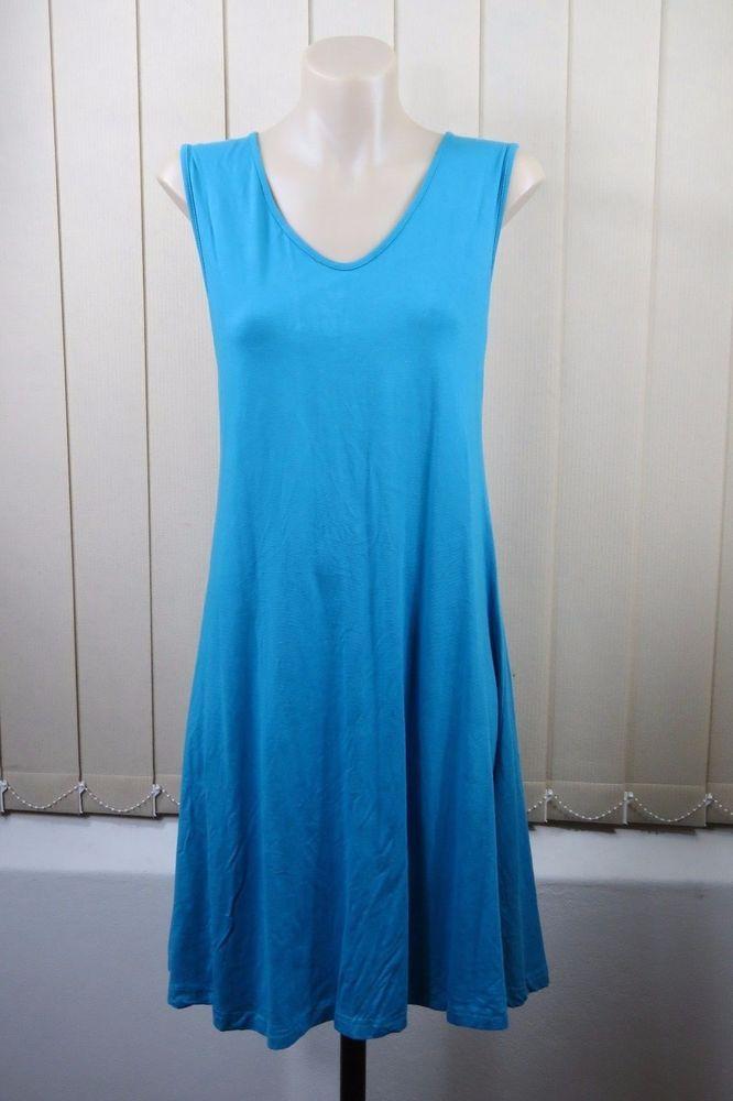 NWT Size XL 16  ISHKA Ladies Blue Tunic Dress Sleeveless Yoga Beach Boho Style #ISHKA #Tunic #SummerBeach