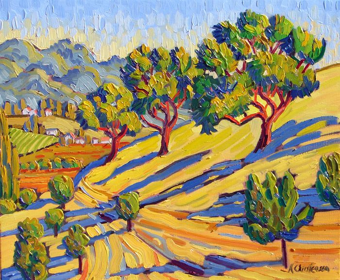Fauvism Oak Trees By Ken Christensen Painting And
