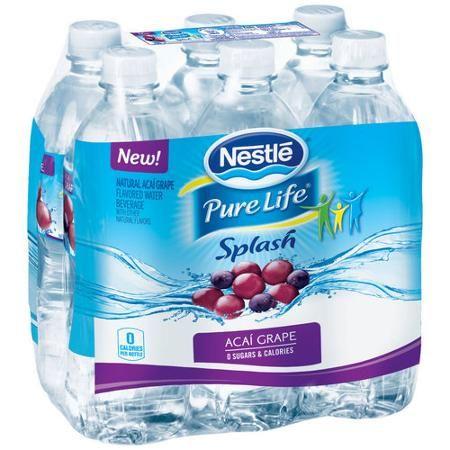 Nestle Splash Acai Grape Water, 16.9 fl oz, 6 pack