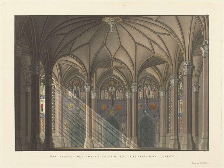 Friedrich Jügel | Decor voor Don Carlos van Friedrich Schiller, Friedrich Jügel, Ludwig Wilhelm Wittich, 1824 | Gotisch interieur met wapens aan de muur. Van links valt zonlicht in strepen naar binnen.