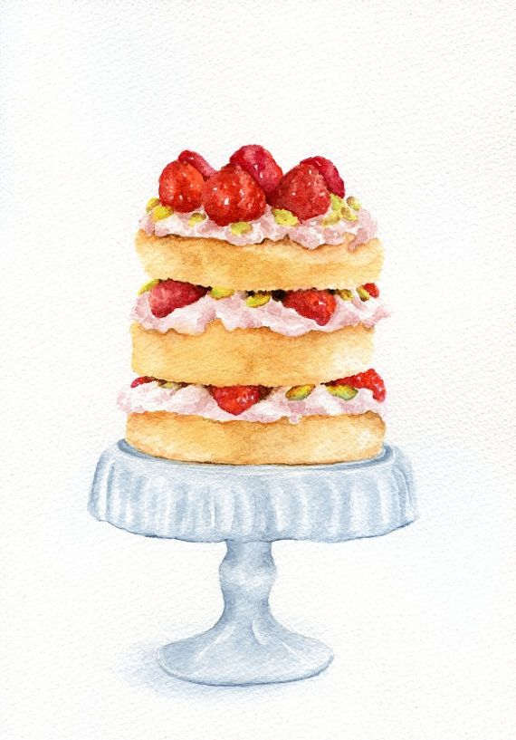 Layer Strawberry Cake (Vintage Style Kitchen Wall Art)