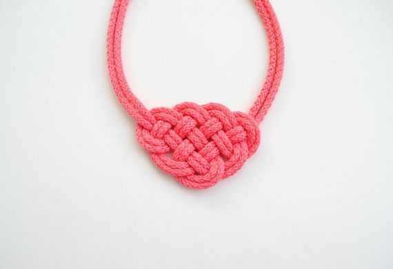 Coral necklace knot necklace coral pink necklace by elfinadesign