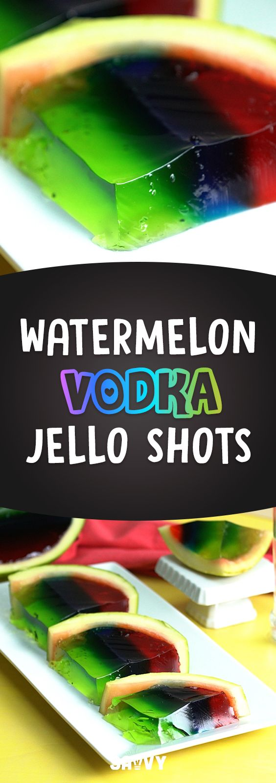 """This is so cool! Watermelon Vodka Shots definitely have that """"wow"""" factor that will amaze your friends, while at the same time being super simple to make. Definitely a win-win recipe in my books!  You can make these without alcohol for a fun kids' party treat, and make sure to save the scooped out watermelon for snacking on later - it's delish! We used vodka in ours, but you can experiment with different kinds of liquor and flavors of jello. Have fun and enjoy responsibly!"""