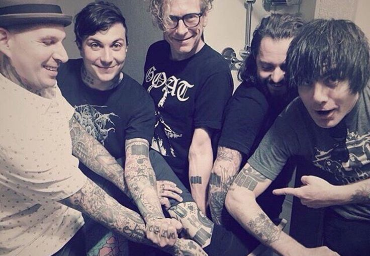 Frank Iero and friends with Black Flag band tattoos
