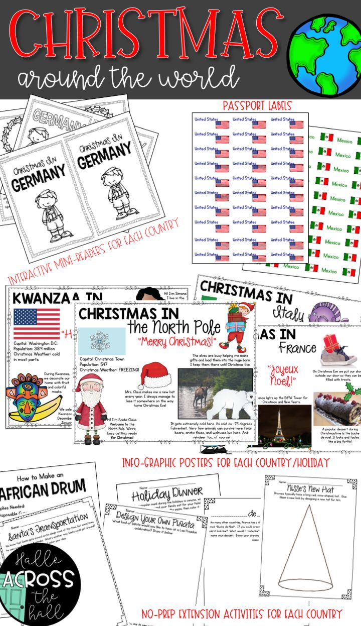 So many activities for Christmas Around the World...you'll ALMOST have trouble deciding what to use. Your students are sure to enjoy this Christmas Around the World unit that also celebrates the holidays Kwanzaa, Hanukkah, and Las Posadas. Bring the world into your classroom this Christmas!