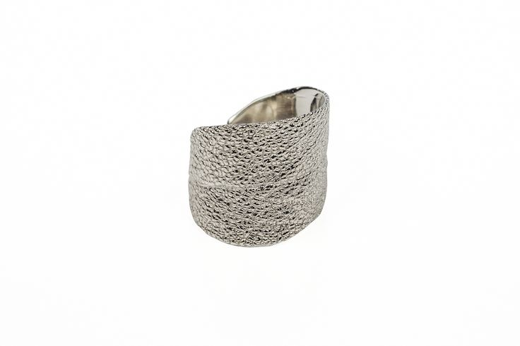 White Gold Sage Leaf Open Back Wrap Ring Beautiful Band Sparkles without any need of Gems... Wear on Any Finger, On Any Occasion, For Any Age! www.organicmetalgalleru.com