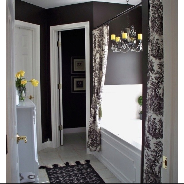 Black, White And Yellow Bathroom